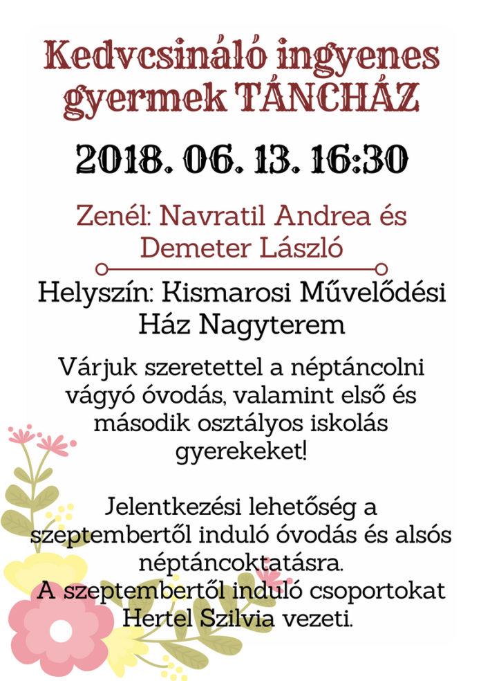 45aa324a3c Sok szeretettel várjuk az ovis és alsós iskolás gyerekeket 2018. június  13-án, szerdán 16:30-18:00 között egy kedvcsináló ingyenes táncházra.